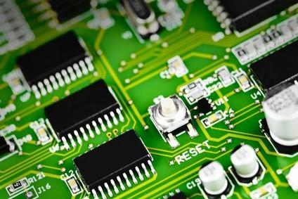 Selective focus macro closeup of computer circuit board cpu micro processors
