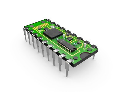 3d Illustration of computer microchip isolated white background.